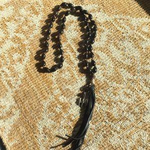Jewelry - Dk brown wood like beaded long necklace w/tassel